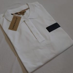 BURBERRY LONDON MEN PLASTIC LOGO WHITE COTTON POLO